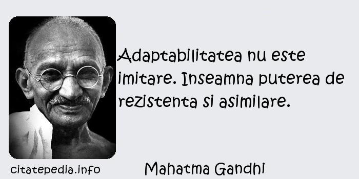 Mahatma Gandhi - Adaptabilitatea nu este imitare. Inseamna puterea de rezistenta si asimilare.