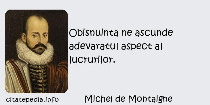 Michel de Montaigne - Obisnuinta ne ascunde adevaratul aspect al lucrurilor.