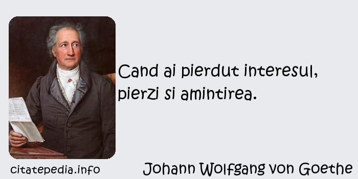 Johann Wolfgang von Goethe - Cand ai pierdut interesul, pierzi si amintirea.