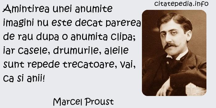 Marcel Proust - Amintirea unei anumite imagini nu este decat parerea de rau dupa o anumita clipa; iar casele, drumurile, aleile sunt repede trecatoare, vai, ca si anii!