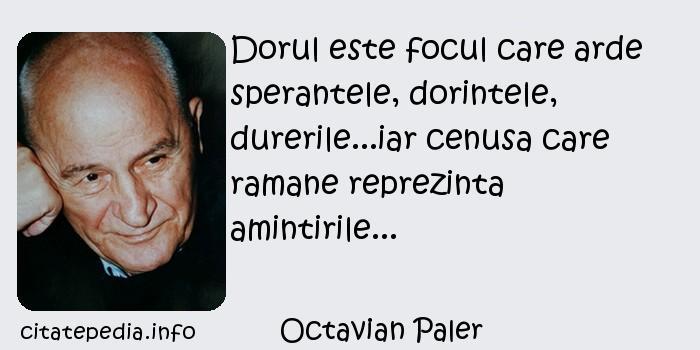 Octavian Paler - Dorul este focul care arde sperantele, dorintele, durerile...iar cenusa care ramane reprezinta amintirile...