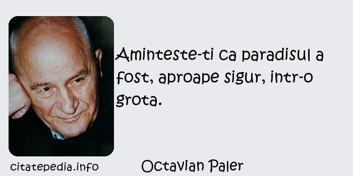 Octavian Paler - Aminteste-ti ca paradisul a fost, aproape sigur, intr-o grota.