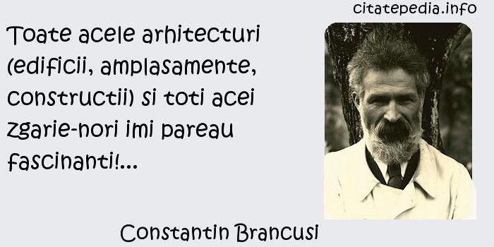 Constantin Brancusi - Toate acele arhitecturi (edificii, amplasamente, constructii) si toti acei zgarie-nori imi pareau fascinanti!...