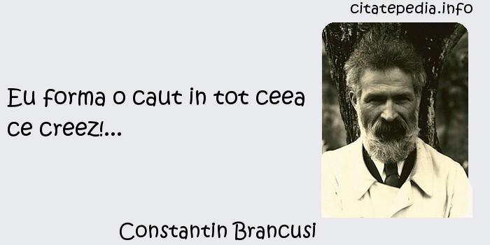 Constantin Brancusi - Eu forma o caut in tot ceea ce creez!...