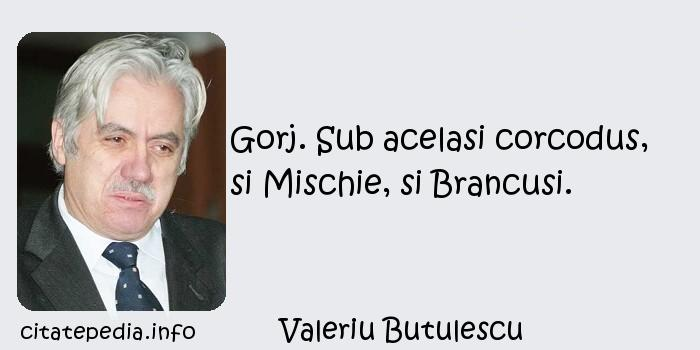 Valeriu Butulescu - Gorj. Sub acelasi corcodus, si Mischie, si Brancusi.