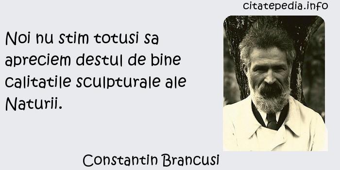 Constantin Brancusi - Noi nu stim totusi sa apreciem destul de bine calitatile sculpturale ale Naturii.