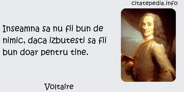 Voltaire - Inseamna sa nu fii bun de nimic, daca izbutesti sa fii bun doar pentru tine.