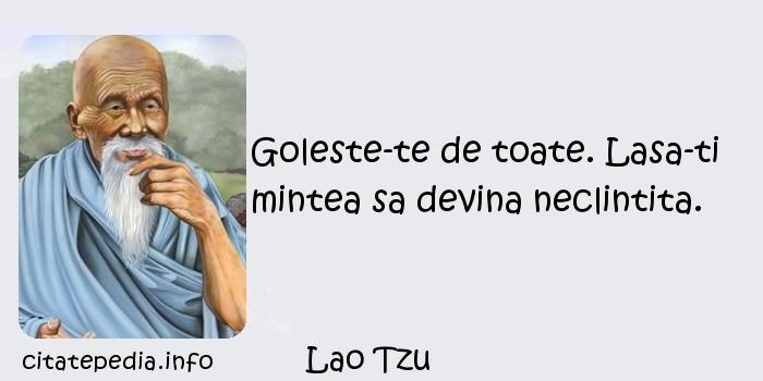 Lao Tzu - Goleste-te de toate. Lasa-ti mintea sa devina neclintita.
