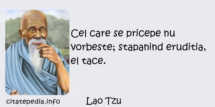 Lao Tzu - Cel care se pricepe nu vorbeste; stapanind eruditia, el tace.