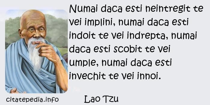 Lao Tzu - Numai daca esti neintregit te vei implini, numai daca esti indoit te vei indrepta, numai daca esti scobit te vei umple, numai daca esti invechit te vei innoi.
