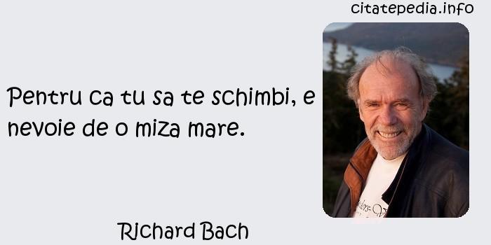 Richard Bach - Pentru ca tu sa te schimbi, e nevoie de o miza mare.