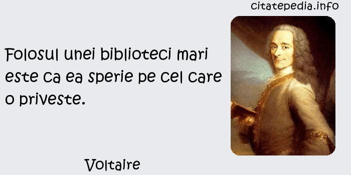 Voltaire - Folosul unei biblioteci mari este ca ea sperie pe cel care o priveste.
