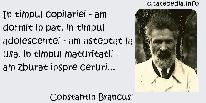 Constantin Brancusi - In timpul copilariei - am dormit in pat. in timpul adolescentei - am asteptat la usa. in timpul maturitatii - am zburat inspre ceruri...
