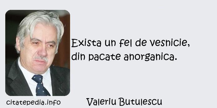 Valeriu Butulescu - Exista un fel de vesnicie, din pacate anorganica.