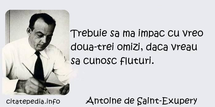 Antoine de Saint-Exupery - Trebuie sa ma impac cu vreo doua-trei omizi, daca vreau sa cunosc fluturi.