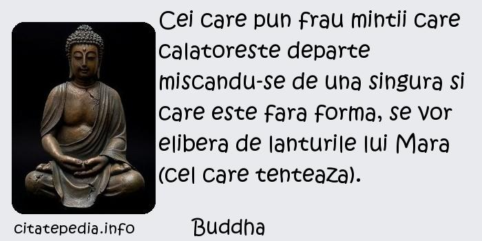 Buddha - Cei care pun frau mintii care calatoreste departe miscandu-se de una singura si care este fara forma, se vor elibera de lanturile lui Mara (cel care tenteaza).