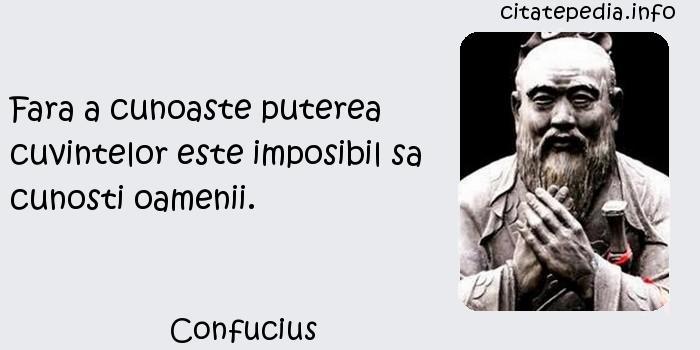 Confucius - Fara a cunoaste puterea cuvintelor este imposibil sa cunosti oamenii.