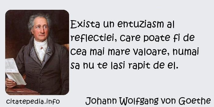 Johann Wolfgang von Goethe - Exista un entuziasm al reflectiei, care poate fi de cea mai mare valoare, numai sa nu te lasi rapit de el.