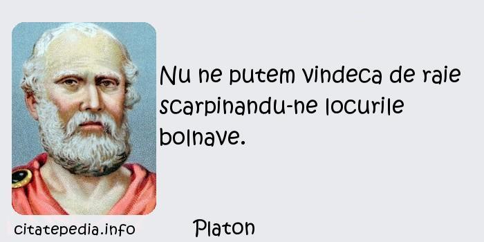 Platon - Nu ne putem vindeca de raie scarpinandu-ne locurile bolnave.