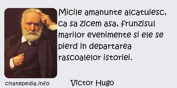 Victor Hugo - Micile amanunte alcatuiesc, ca sa zicem asa, frunzisul marilor evenimente si ele se pierd in departarea rascoalelor istoriei.