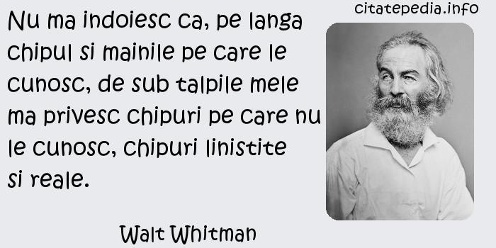 Walt Whitman - Nu ma indoiesc ca, pe langa chipul si mainile pe care le cunosc, de sub talpile mele ma privesc chipuri pe care nu le cunosc, chipuri linistite si reale.
