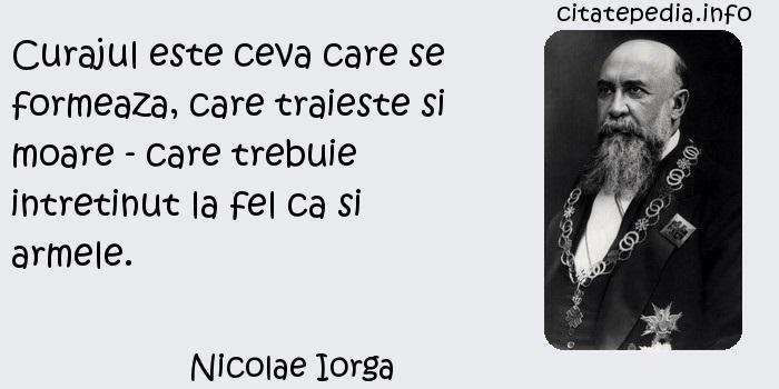 Nicolae Iorga - Curajul este ceva care se formeaza, care traieste si moare - care trebuie intretinut la fel ca si armele.