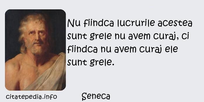 Seneca - Nu fiindca lucrurile acestea sunt grele nu avem curaj, ci fiindca nu avem curaj ele sunt grele.