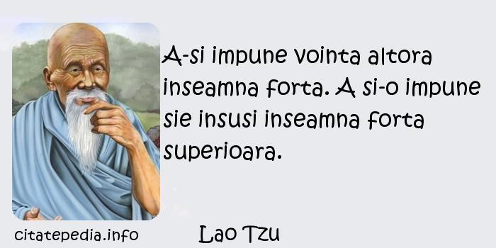 Lao Tzu - A-si impune vointa altora inseamna forta. A si-o impune sie insusi inseamna forta superioara.