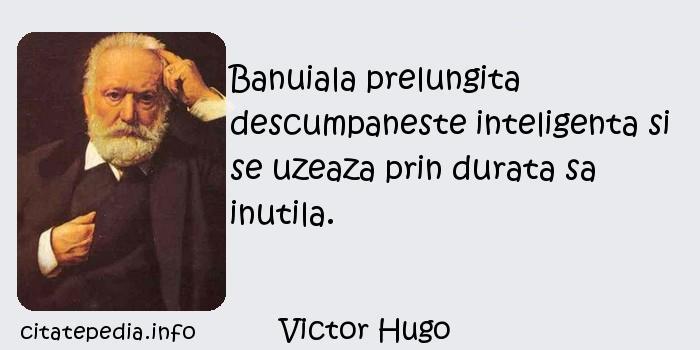 Victor Hugo - Banuiala prelungita descumpaneste inteligenta si se uzeaza prin durata sa inutila.