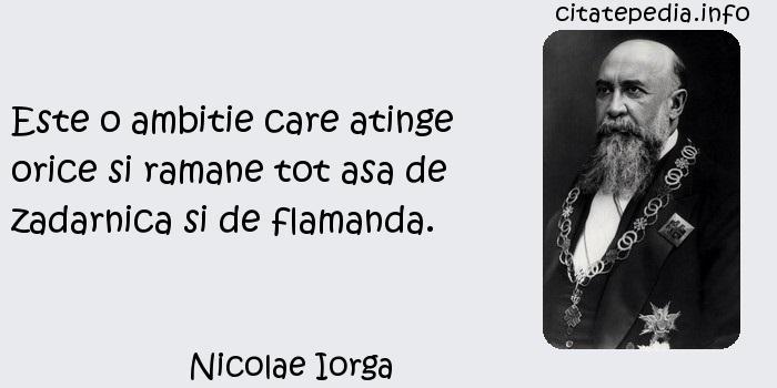 Nicolae Iorga - Este o ambitie care atinge orice si ramane tot asa de zadarnica si de flamanda.