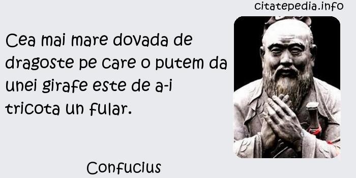 Confucius - Cea mai mare dovada de dragoste pe care o putem da unei girafe este de a-i tricota un fular.