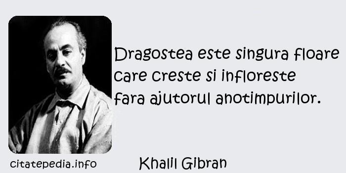 Khalil Gibran - Dragostea este singura floare care creste si infloreste fara ajutorul anotimpurilor.