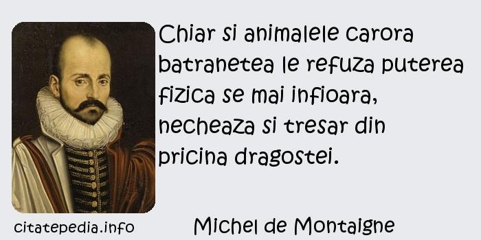 Michel de Montaigne - Chiar si animalele carora batranetea le refuza puterea fizica se mai infioara, necheaza si tresar din pricina dragostei.