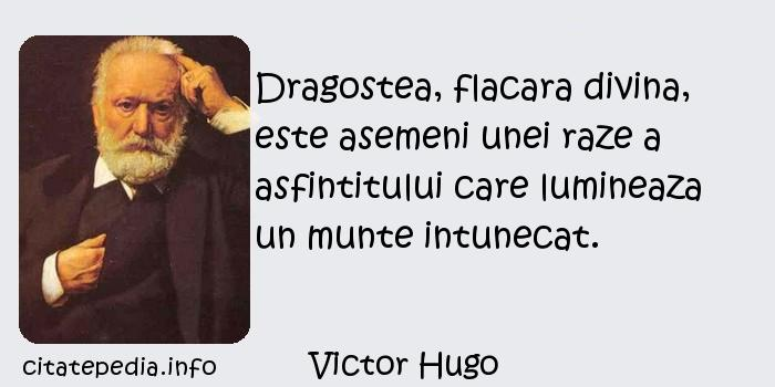 Victor Hugo - Dragostea, flacara divina, este asemeni unei raze a asfintitului care lumineaza un munte intunecat.
