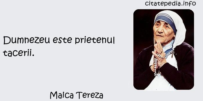 Maica Tereza - Dumnezeu este prietenul tacerii.