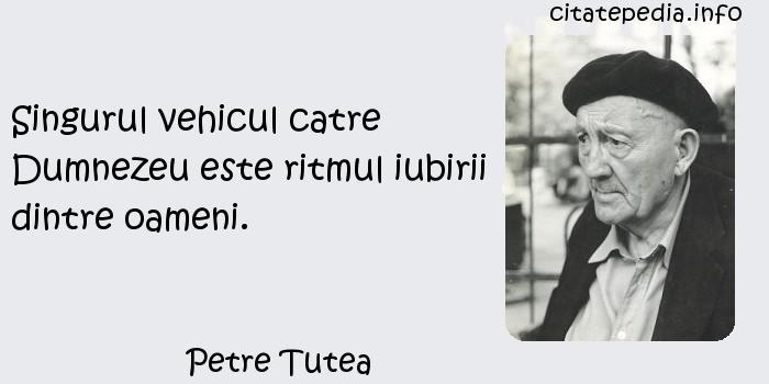 Petre Tutea - Singurul vehicul catre Dumnezeu este ritmul iubirii dintre oameni.