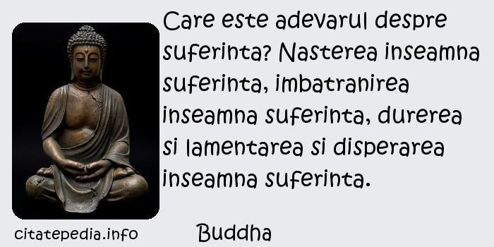 Buddha - Care este adevarul despre suferinta? Nasterea inseamna suferinta, imbatranirea inseamna suferinta, durerea si lamentarea si disperarea inseamna suferinta.