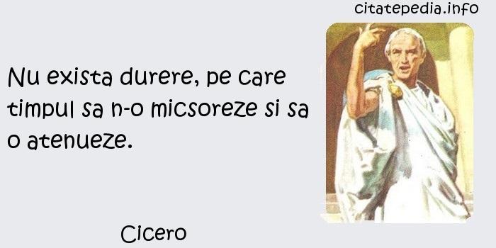 Cicero - Nu exista durere, pe care timpul sa n-o micsoreze si sa o atenueze.