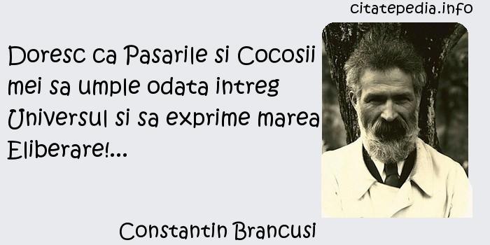 Constantin Brancusi - Doresc ca Pasarile si Cocosii mei sa umple odata intreg Universul si sa exprime marea Eliberare!...