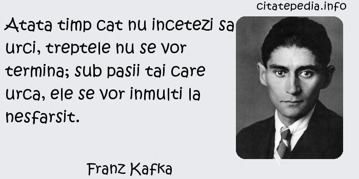 Franz Kafka - Atata timp cat nu incetezi sa urci, treptele nu se vor termina; sub pasii tai care urca, ele se vor inmulti la nesfarsit.