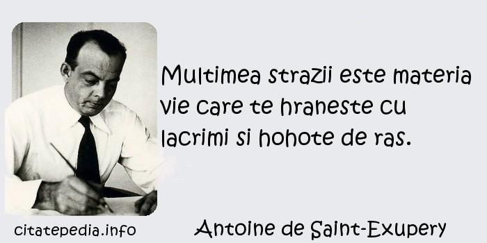 Antoine de Saint-Exupery - Multimea strazii este materia vie care te hraneste cu lacrimi si hohote de ras.