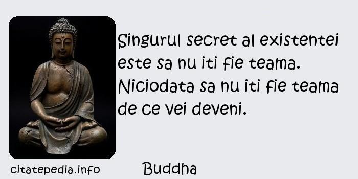 Buddha - Singurul secret al existentei este sa nu iti fie teama. Niciodata sa nu iti fie teama de ce vei deveni.