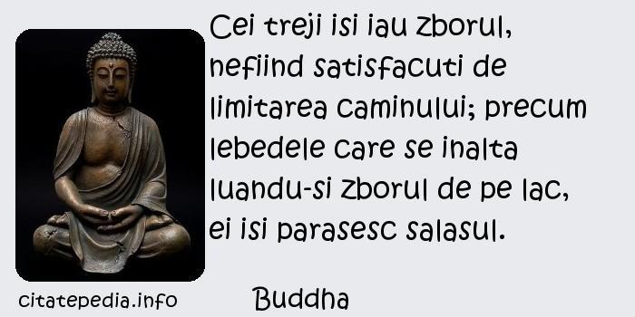 Buddha - Cei treji isi iau zborul, nefiind satisfacuti de limitarea caminului; precum lebedele care se inalta luandu-si zborul de pe lac, ei isi parasesc salasul.
