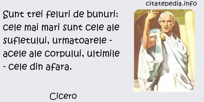 Cicero - Sunt trei feluri de bunuri: cele mai mari sunt cele ale sufletului, urmatoarele - acele ale corpului, ultimile - cele din afara.