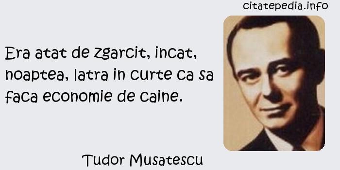 Tudor Musatescu - Era atat de zgarcit, incat, noaptea, latra in curte ca sa faca economie de caine.
