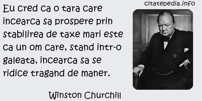 Winston Churchill - Eu cred ca o tara care incearca sa prospere prin stabilirea de taxe mari este ca un om care, stand intr-o galeata, incearca sa se ridice tragand de maner.
