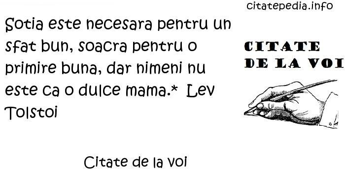 Citate de la voi - Sotia este necesara pentru un sfat bun, soacra pentru o primire buna, dar nimeni nu este ca o dulce mama.*  Lev Tolstoi