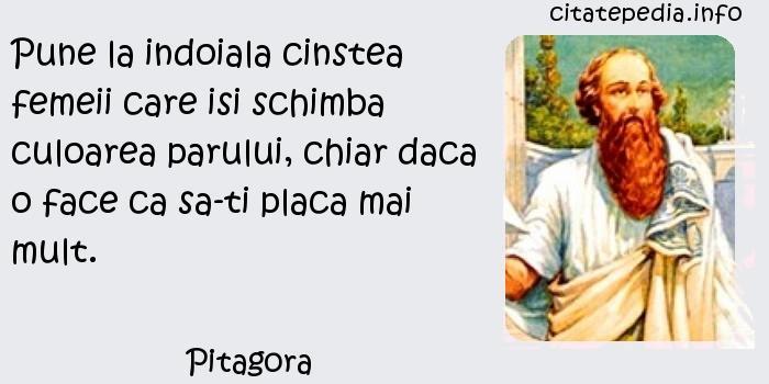 Pitagora - Pune la indoiala cinstea femeii care isi schimba culoarea parului, chiar daca o face ca sa-ti placa mai mult.