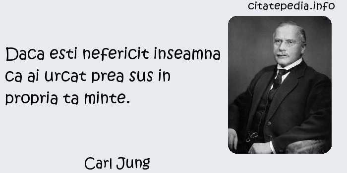 Carl Jung - Daca esti nefericit inseamna ca ai urcat prea sus in propria ta minte.