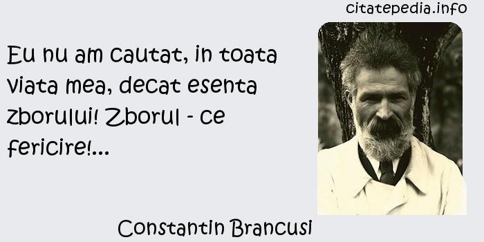 Constantin Brancusi - Eu nu am cautat, in toata viata mea, decat esenta zborului! Zborul - ce fericire!...